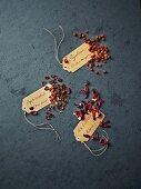 Rose hips, dried rowan berries and hibiscus flowers for tea