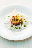 Monk fish carpaccio with vegetable strips