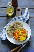 Pumpkin salad with courgettes and potatoes