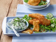 Breaded kohlrabi with a herb sauce