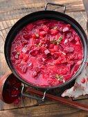 Borscht in a pot