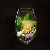Riesling-Weinaromen im Weinglas