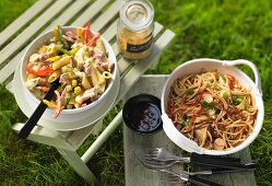 Curry noodle salad and an oriental noodle salad for a barbecue party