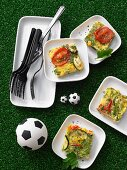 Diced tortilla with vegetables for a football themed party