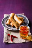Spring rolls with a sweet and spicy sauce