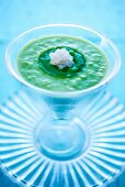 Cream of broccoli soup with tapioca pearls