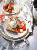 French toast with strawberries and cream