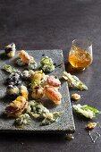 Edible flower and herb tempura with honey