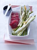 Asparagus tempura with tuna fish (Japan)