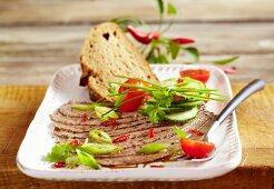 Oriental beef salad with spring onions and chillis