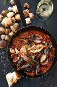 Bouillabaisse in a pan