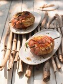 Grilled mushrooms with cheese and ham