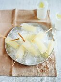 Lemon and ginger ice lollies