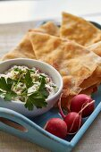 Naan bread with a radish dip