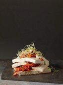 Steamed tofu with roasted kimchi