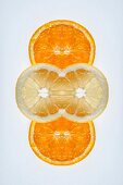 A digital composition of mirrored images of orange and lemon slices
