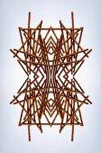 A digital composition of mirrored images of an arrangement of pretzel sticks