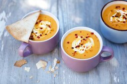 Cream of pumpkin soup with curry and tortilla crips