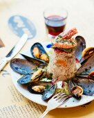 Fish timbale with prawns and mussels (Genoa, Italy)