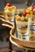 Mille-feuille with almond and biscotti crumble, granadilla cream and exotic fruit salad