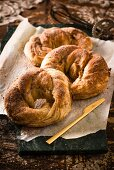 Cinnamon bagoissants (cross between a bagel and a crossiant)