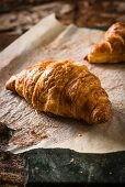 Croissants on baking paper