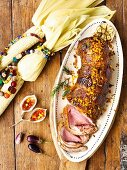 Roast beef sirloin with a maize & bacon crust and chilli & mustard jelly with corn on the cob (Africa)