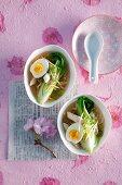 Ramennudelsuppe mit Hähnchen, Paksoi und Ei