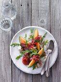 Mediterranean appetiser with mozzarella and melon