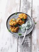 Latkes made from oven-roasted sweet potatoes with a spinach dip