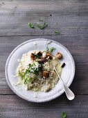 Gluten-free lemon risotto with diced, baked aubergine