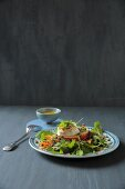 Lentil and rocket salad with apple and goat's cheese