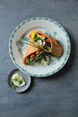 Wraps with grilled vegetables and sheep's cheese