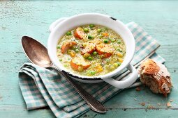 Classic pea soup with potatoes and sausage
