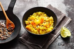 Moong dhal with dried apricots