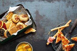 Homemade snacks for a finger food buffet
