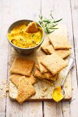 Rosemary crackers with a pumpkin and tahini dip