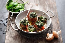 Oven roasted mushrooms filled with cream cheese and spinach