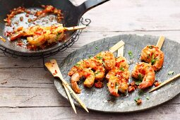 Oriental prawn skewers with chilli and fresh coriander