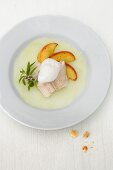 Steamed fish flipped on a kohlrabi carpaccio with lemon foam and roasted apple wedges