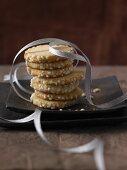 Shortbread biscuits with sugar nibs