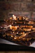 Chocolate pretzel caramel broken into pieces