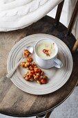 White hot chocolate with macadamia nut caramel