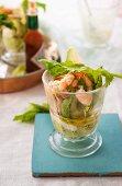 Avocado salad with prawns and garlic mayonnaise