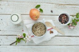 Muesli with dried fruits, nuts, apple and milk