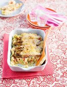 Chicken and chicory bake with mashed potatoes