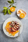 Cabbage salad with clementines, carrots and pork (Thailand)