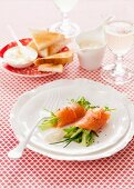 Smoked salmon rolls with a herb salad and horseradish dressing for Christmas dinner