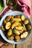 Roast potatoes with rosemary (seen from above)