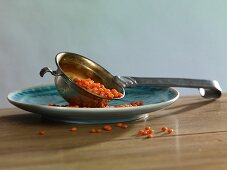 Red lentils in a ladle on a plate